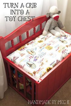Turn an Old Crib to a New Toy Bench