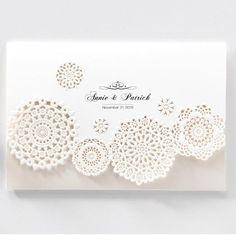 Vintage laser cut doilies wedding invitations - BH 6125 | ItsInvitation