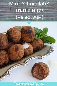 Mint chocolate truffle bites. AIP Paleo truffles recipe. Autoimmune Protocol.