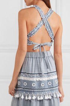Dodo Bar Or | Embellished lace-trimmed cotton-jacquard top | NET-A-PORTER.COM