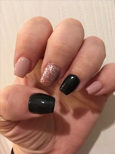 Rose gold glitter nude and black nails