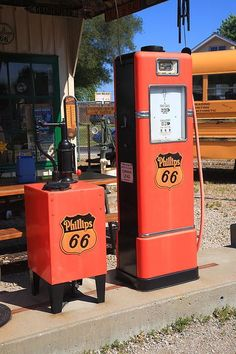 "Route 66. Old filling station pumps outside Shea's gas station in Springfield, Illinois, on old Rt. 66. ""The Fine Art Photography of Frank Romeo."""