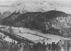Overlooking the ice hockey rink at the 1928 winter Olympic Games in St. Moritz
