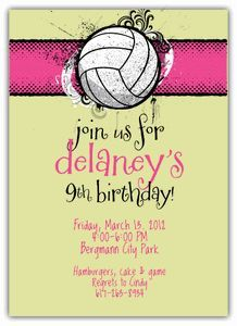 Printable Volleyball Ticket Birthday Invitation Can Be Any Color
