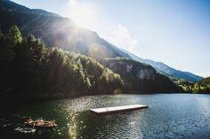 Piburger lake in Oetz - warmest lake in Tyrol! Mountain Climbing, Rock Climbing, Mountain Biking, Rafting, Austria, Hiking, Swimming, Mountains, Landscape