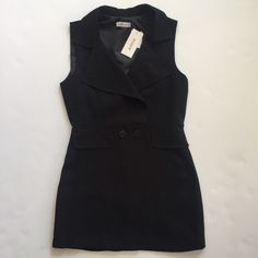 JUSTFAB BLACK LONG SLEEVELESS VEST / TOPPER NEVER WORN -- TAGS ATTACHED JustFab Jackets & Coats Vests