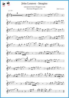 """Imagine"" - John Lennon score and playalong (Sheet music free) | Free sheet music for sax"