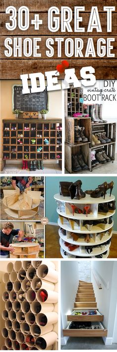 Great Shoe Storage Ideas To Keep Your Footwear Safe And Sound! - Here you will find great shoe st Great Shoe Storage Ideas To Keep Your Footwear Safe And Sound! - Here you will find great shoe storage ideas that you can try at home, on a budget! Shoe Storage, Diy Storage, Storage Ideas, Storage Units, Small Storage, Shoe Racks, Porch Storage, Storage Stairs, Storage Hacks