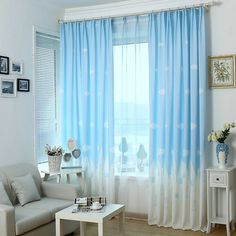 Printing Rideaux Cuisine Polyester Curtains For Living Room Bed Room Kitchen Pastora tulle curtains Flowers Drapes Windows Girls Bedroom Curtains, Cottage Curtains, Kids Curtains, Cool Curtains, Blue Curtains, Bedroom Windows, Kids Bedroom, Bedroom Decor, Window Curtains