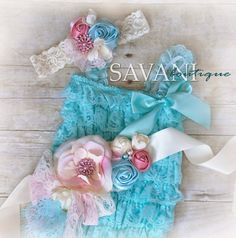 lace baby romper,Vintage shabby chic lace set, 3 pieces aqua and coral lace romper set , headband and belt, Baby Girl Photo Prop on Etsy, $49.99