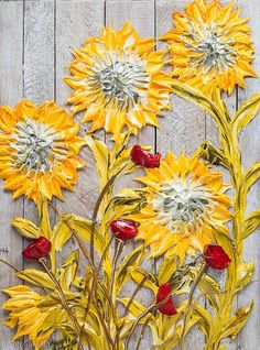 """30""""x40"""" - Acrylic on Recycled Pallet Panel - Sunflowers - Artist, Justin Gaffrey"""
