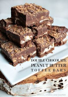Double Chocolate Peanut Butter Toffee Bars