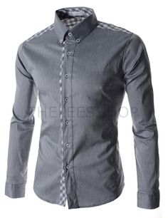 (AL542-GRAY) Mens Slim Stretchy Checker Patched Button Down Long Sleeve Shirts