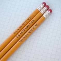 the facts were these engraved pencil set 3 yellow pencils. for super sleuths and spies....