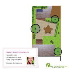 Tuin met hoogteverschillen, getekend door onze tuinontwerper Ingeborg Hovind.