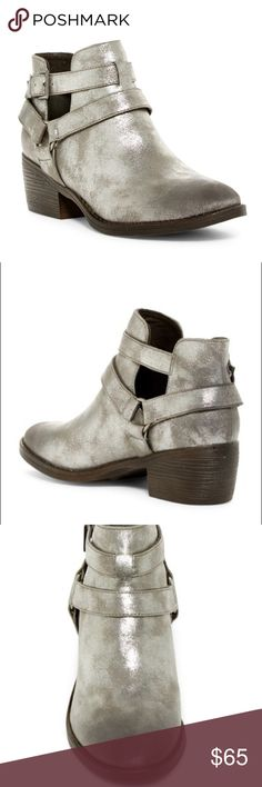 NWOT Born in California BC Cutout Bootie Metallic Born in California BC Communal Cutout Bootie Metallic Silver Pewter Boot Ankle Boot Booties • summer boot Born in California  Shoes Ankle Boots & Booties