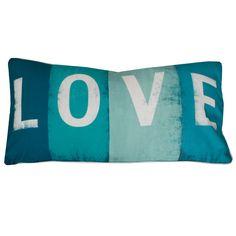 LOVE Sign Pillow Aqua | Dorm Room Decor | OCM.com