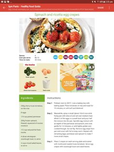 Tray Bakes, Crepes, Ricotta, Spinach, Breakfast Recipes, Oven, Healthy Recipes, Fresh, Baking