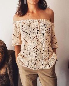 KNITTING PATTERN: This vest is the Knit version of a vest I designed in Tunisian Crochet. A simple knitting pattern worked flat in one piece. Débardeurs Au Crochet, Mode Crochet, Crochet Tunic, Crochet Woman, Crochet Clothes, Crochet Stitches, Crochet Tops, Crochet Style, Crochet Summer