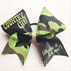 So CHEERious Country Girl shake it for me by soCHEERiousCHEERbows Softball Bows, Cheerleading Bows, Cute N Country, Country Girls, Cheer Mom, Cheer Stuff, Camo Bows, Shake It For Me, Cheer Outfits