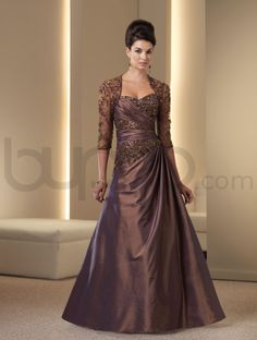 A-line Taffeta Hand-beaded Ruched Bodice Strapless Sweetheart Neckline Mother of the Bride Dress (ID111D07) - Bupop.com