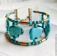 """Купить Браслет в бохо-стиле """"Саванна"""" - браслет из бирюзы, этнические украшения, бирюзовый браслет"""