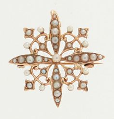 Antique 14k Yellow Gold Seed Pearl Snowflake Star Pin Pendant