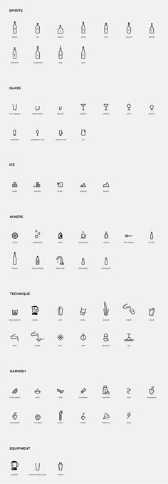 """Mixionary"" Custom Pictograms for spirit, glass, ice, mixers, technique and equipment types"