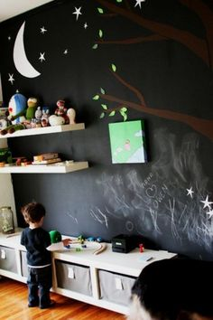 Before Rylan was born, I told Sara I wanted to do one of his walls as a chalkboard. I love the extra touch of the tree, moon and stars.