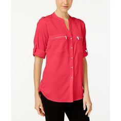 Calvin Klein Zip-Pocket Utility Blouse ($70) ❤ liked on Polyvore featuring tops, blouses, watermelon, calvin klein blouses, red top, calvin klein, red blouse and utility blouse