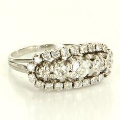 Art Deco 900 Platinum Diamond Anniversary Band Ring Fine Vintage Jewelry