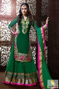 Pavitraa Green Color Lehenga Salwar Suit Rs 5761.8  #diwaliutsav #dipavalisalwarsuits #dipawalioffer