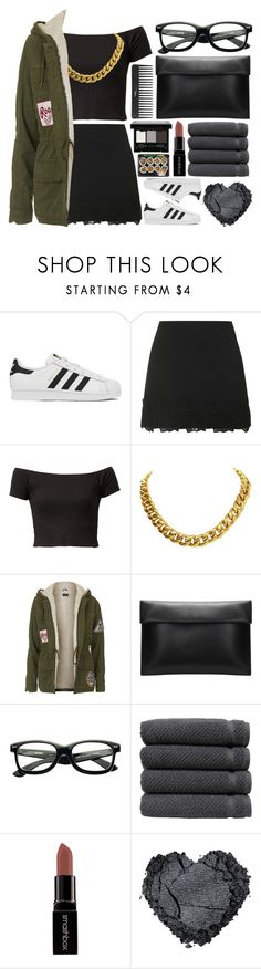 """""""!"""" by king-alysa ❤ liked on Polyvore featuring adidas, Topshop, CÉLINE, Sephora Collection, Linum Home Textiles, Smashbox, NYX, women's clothing, women and female"""