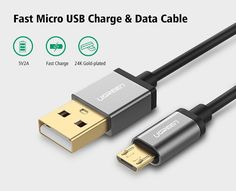 €3.99 5V2A Micro USB Cable,Ugreen Fast Charging Mobile Phone USB Charger Cable 1M 2M 3M Data Sync Cable for Samsung HTC LG Android