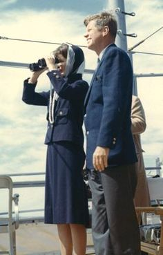 Former US President John F. Kennedy and First Lady Jackie Kennedy watch the first of the 1962 America's Cup races aboard the USS Joseph P. Kennedy Jr., off Newport, Rhode Island, in this handout image taken on September 15, 1962.