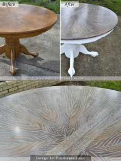 Dining Table Makeover, Oak Dining Table, Dining Furniture, Painted Furniture, Home Furniture, Dining Rooms, Painted Oak Table, Furniture Ideas, Furniture Movers
