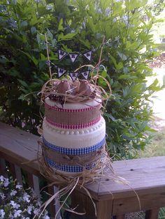 4th of July Backyard BBQ wedding rehearsal cake