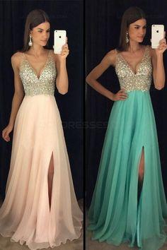A-Line Beaded Sequins V-Neck Long Chiffon Prom Dresses Party Evening Gowns 3020280 Cute Prom Dresses, V Neck Prom Dresses, Grad Dresses, Formal Evening Dresses, Wedding Party Dresses, Homecoming Dresses, Evening Gowns, Chiffon Dresses, Dresses Dresses