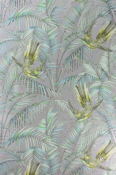 Matthew Williamson for Osborne & Little: W6543-05 Sunbird. Shown in the lemon, soft jade on a metallic silver background.