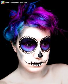 Sugar Skull Hair and Makeup - Day of the Dead - Rainbow Hair Colour