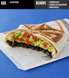 Vegan-friendly fast-food chain Taco Bell is set to launch a dedicated vegetarian menu; it's easy to order almost anything vegan at Taco Bell. Vegetarian Taco Bell, Vegetarian Menu, Vegetarian Options, Vegetarian Lifestyle, Taco Bells, Vegan Foods, Vegan Recipes, Vegan Desserts, Healthy Foods