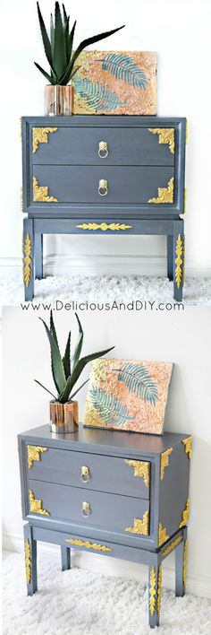 Diy Furniture Create this gorgeous Table Makeover using Wood Appliqués Trendy Furniture, Home Decor Furniture, Furniture Makeover, Furniture Decor, Painted Furniture, Diy Home Decor, Refinished Furniture, Furniture Projects, Diy Projects
