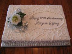anniversary sheet cakes | 25th Anniversary Cake - Scrollwork — Anniversary