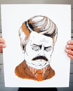 Ron Swanson screen printed poster in black and tan by KRUSTYstuff. $26.00, via Etsy.