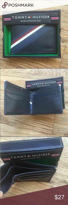 "New Tommy Hilfiger Men's Blue Leather Wallet New Tommy Hilfiger Men Wallet Color: Blue Size: 4.2"" x 3.2"" 6 Credit Card Slots 2 Bill Slot Tommy Hilfiger Bags Wallets"