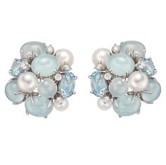 Seaman Schepps Aquamarine Pearl Diamond Gold Bubble Earclips | From a unique collection of vintage clip-on earrings at https://www.1stdibs.com/jewelry/earrings/clip-on-earrings/