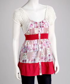 Take a look at this Red & White Crocheted Top by Lulumari on #zulily today!