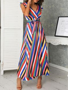 Style:Fashion Pattern Type:Striped Material:Polyester Neckline:V-Neck Sleeve Style:Sleeveless Length:Maxi Occasion:Casual Package Dress Note: There might be difference according to Buy Dress, Wrap Dress, Dress Outfits, Fashion Dresses, Dresses Dresses, Rainbow Outfit, Plunge Dress, Weekend Style, Pattern Fashion