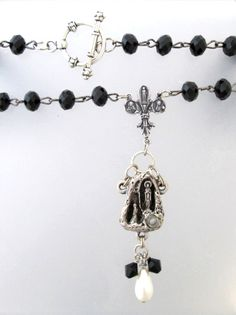 Antique FRENCH Saint Bernadette LOURDES Holy Water  Medal Sterling Fleur De Lis CROSS Crystal Beads Necklace Pendant-n-blhw Crystal Bead Necklace, Crystal Beads, Swarovski Crystals, Saint Bernadette, Vintage Jewelry, Handmade Jewelry, Lourdes, Religious Jewelry, Black Crystals
