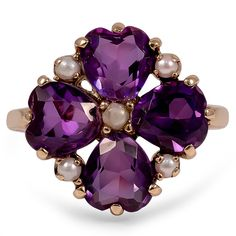 Rosamaria G Frangini | High Purple Jewellery | Vintage amethyst & pearl ring